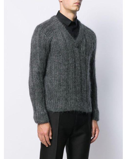 Pull en maille ajourée Prada pour homme en coloris Gray