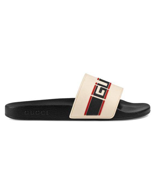 Gucci White Stripe Rubber Slide Sandal for men
