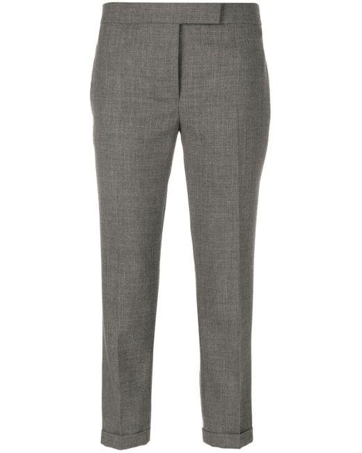 Thom Browne Gray Cropped-Hose mit Bügelfalten