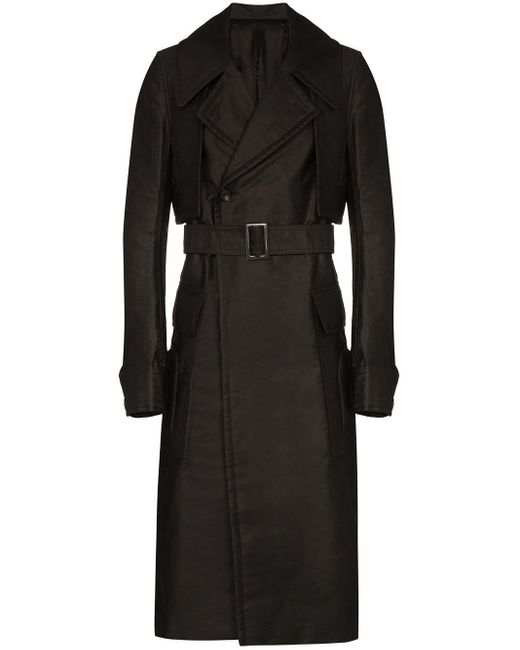 Rick Owens Black Double-breasted Trench Coat for men