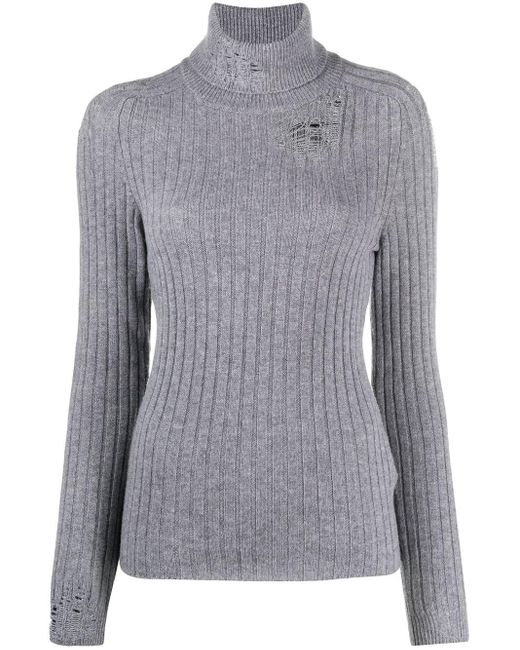 Maison Margiela Gray Distressed Knitted Jumper