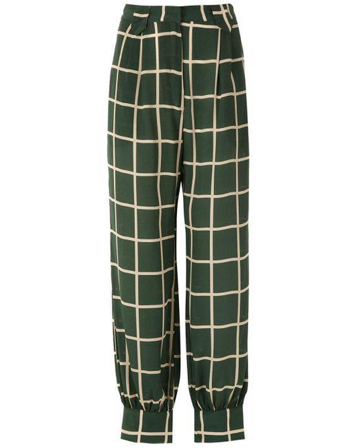 Pantalon à carreaux Adriana Degreas en coloris Green
