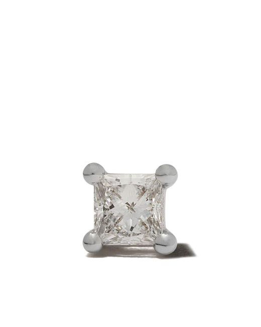 Farfetch Exclusive18kt White Gold Dots Solitaire Diamond Stud Delfina Delettrez, цвет: Metallic