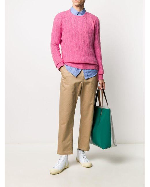 メンズ Polo Ralph Lauren カシミア ケーブルニット セーター Pink