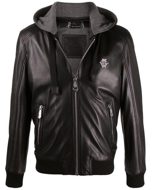 メンズ Philipp Plein ロゴ ボンバージャケット Black