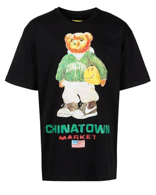 T-shirt Smiley Sketch Basketball Bear di Chinatown Market in Black da Uomo