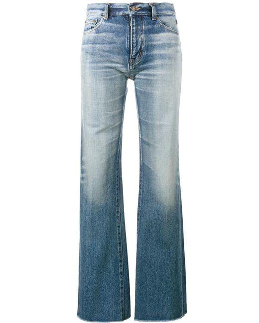Saint Laurent   Blue Raw-cut Flared Jeans   Lyst