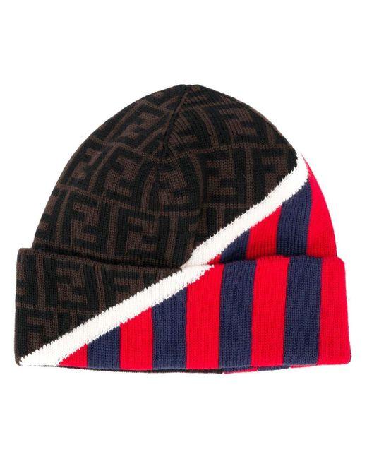 Bonnet à motif monogrammé Fendi pour homme en coloris Red