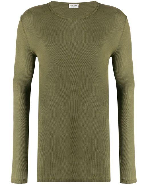 メンズ Saint Laurent リブ Tシャツ Green