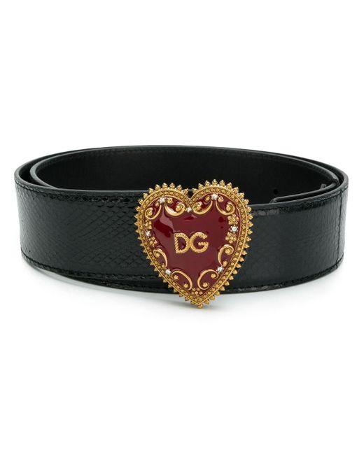 Dolce & Gabbana ハートバックル ベルト Black