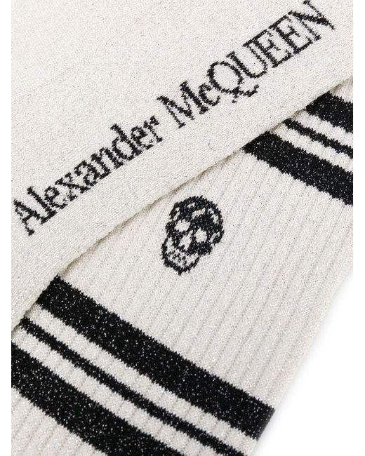 メンズ Alexander McQueen スカル インターシャ靴下 White