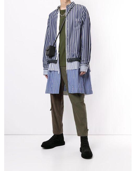 メンズ Sacai レイヤード シャツジャケット Blue
