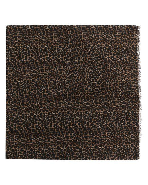 Écharpe à imprimé léopard Saint Laurent en coloris Black