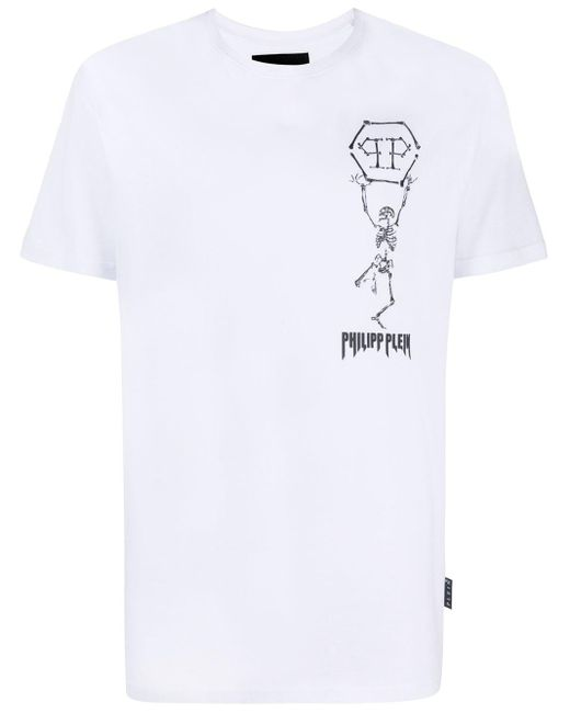 メンズ Philipp Plein Skeleton Tシャツ White