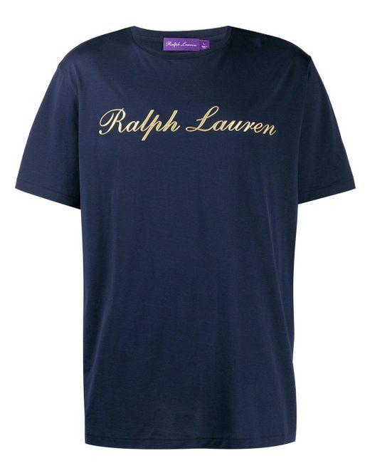 メンズ Ralph Lauren Purple Label ロゴ Tシャツ Blue