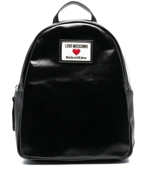Love Moschino ロゴパッチ バックパック Black