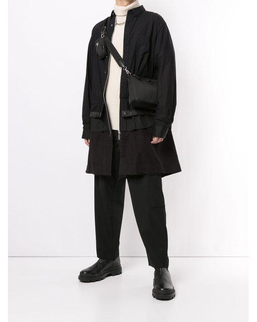 メンズ Sacai レイヤード シャツジャケット Black