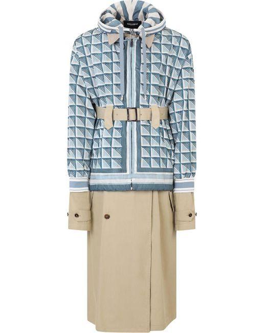 メンズ Dolce & Gabbana ジオメトリック トレンチコート Blue
