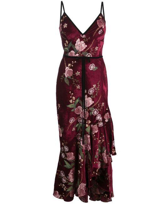 Платье Без Рукавов С Цветочной Вышивкой Marchesa notte, цвет: Purple