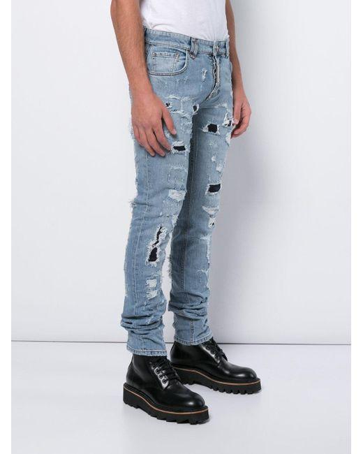 Philipp Plein Blue Heavy Distressed Jeans for men