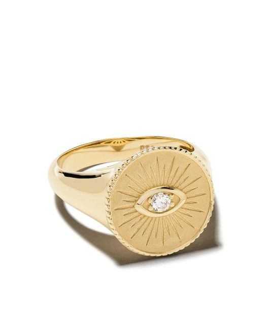 Chevalière en or 14ct ornée de diamants Sydney Evan en coloris Metallic