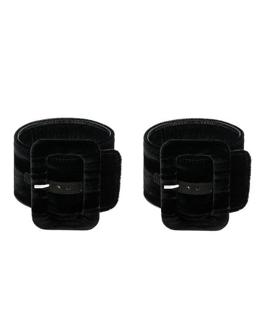 Attico - Black Buckle Anklet Bracelet - Lyst