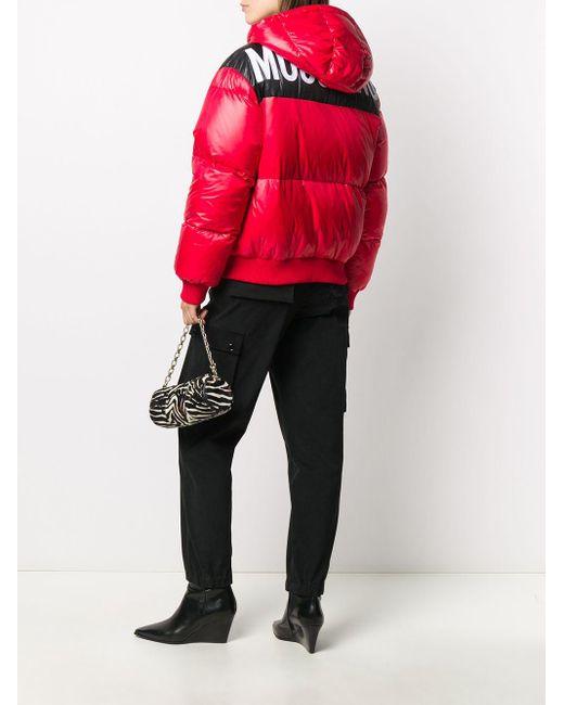 Пуховик На Молнии С Логотипом Moschino, цвет: Red