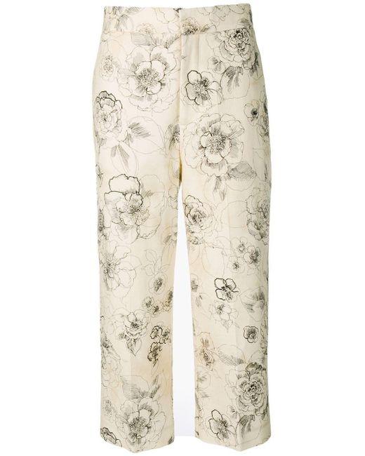 Erika Cavallini Semi Couture フローラル クロップドパンツ Natural