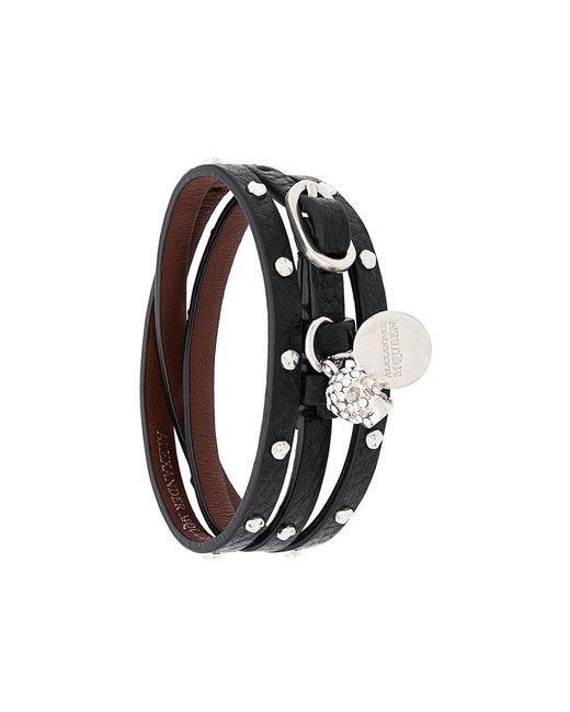 Alexander McQueen - Black Triple Wrap Studded Skull Bracelet - Lyst