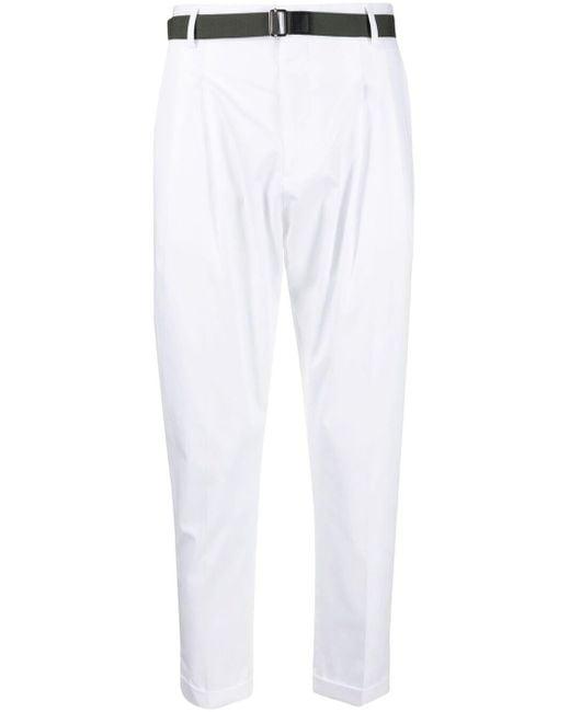 メンズ Low Brand ベルテッド テーパードパンツ White