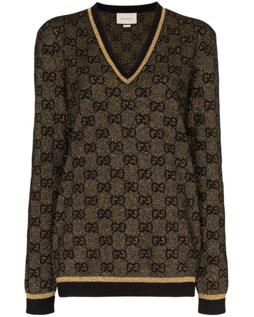 Gucci GGパターン ラメ セーター Black
