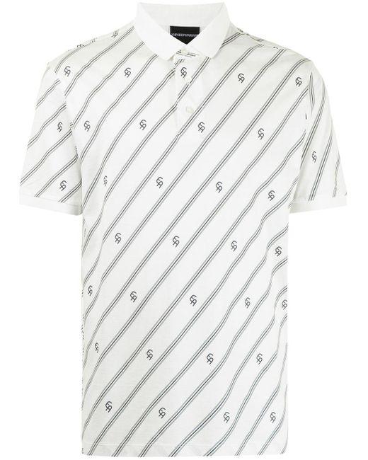 メンズ Emporio Armani モノグラム ポロシャツ White