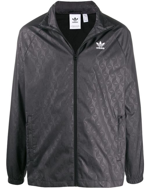 メンズ Adidas ロゴ ウインドブレーカー Black