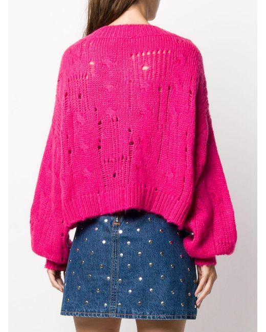 Джемпер С Эффектом Потертости И V-образным Вырезом MSGM, цвет: Pink
