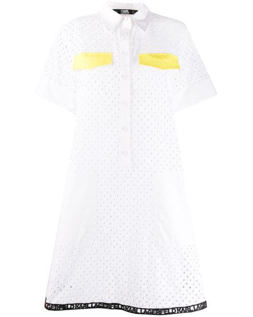Karl Lagerfeld アイレットレース ドレス White