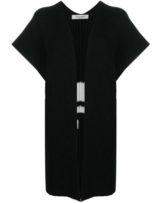 Пончо С Логотипом Vltn Вязки Интарсия Valentino, цвет: Black
