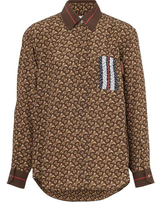 Burberry ストライプパネル シルクシャツ Brown