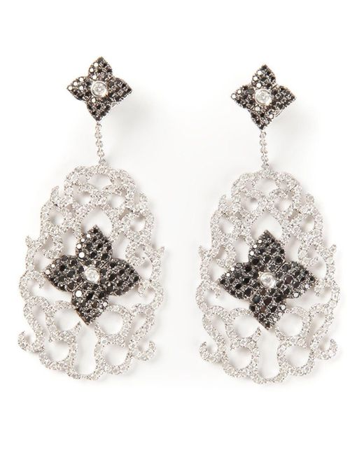 Elise Dray Metallic Diamond Floral Pavé Earrings