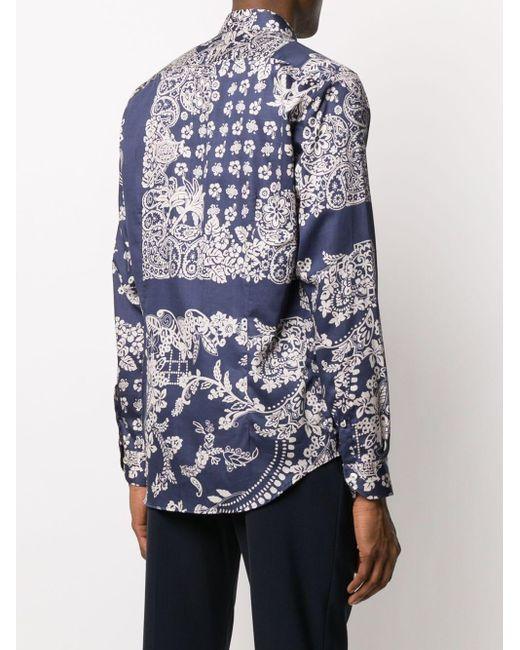 Рубашка С Принтом Пейсли Etro для него, цвет: Blue