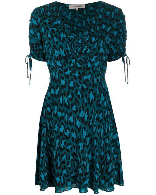 Diane von Furstenberg レオパード ドレス Blue