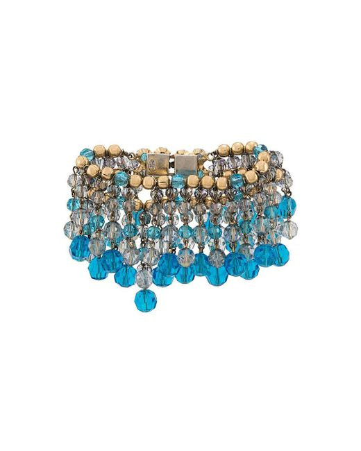 Bracelet en perles à franges Dior en coloris Blue
