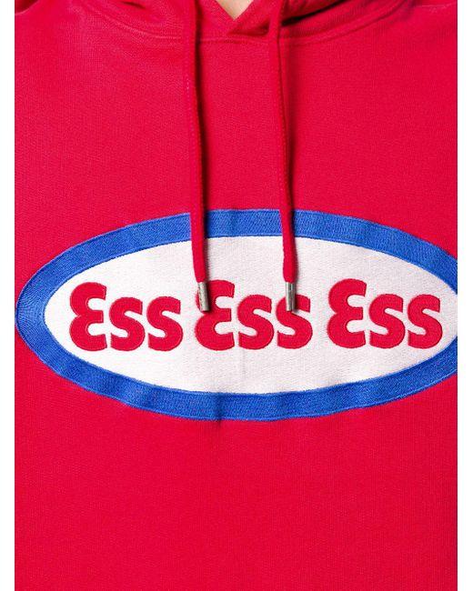 メンズ SSS World Corp ロゴ パーカー Red