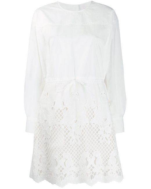 See By Chloé レザーカット シャツドレス White