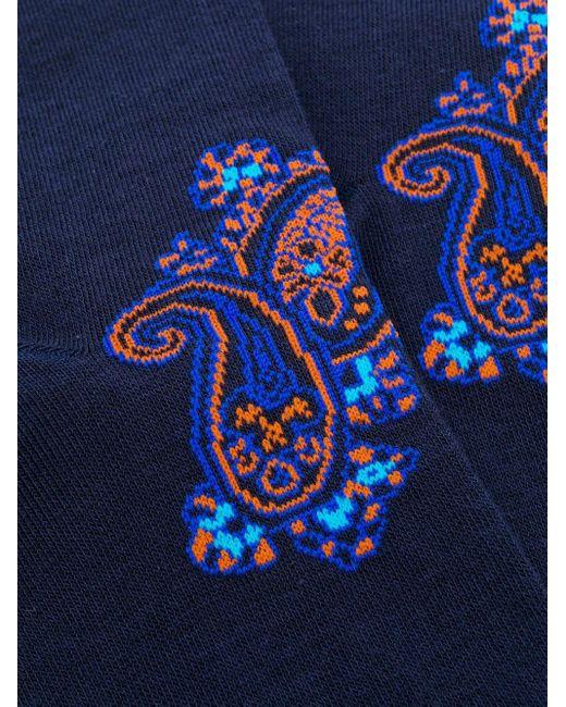Жаккардовые Носки С Узором Пейсли Etro для него, цвет: Blue