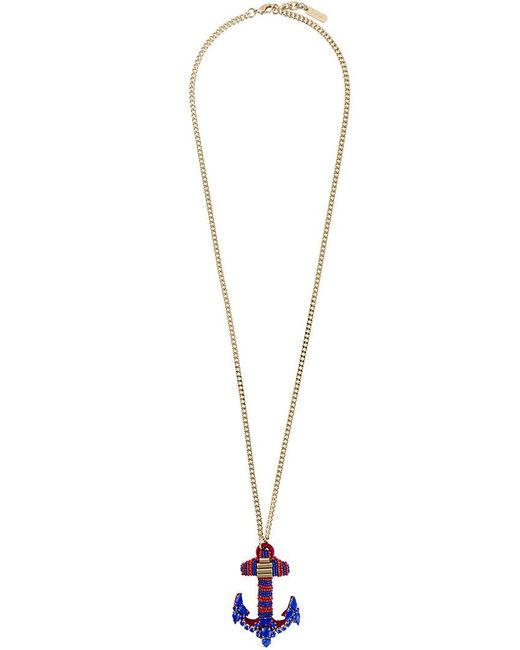 Rada' | Blue Anchor Pendant Elongated Necklace | Lyst