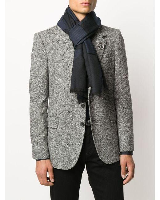 メンズ Ermenegildo Zegna バイカラー スカーフ Blue
