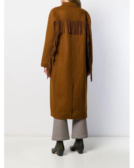 Doppelreihiger Wolle In Lyst Braun Fransen Sandro Mantel Mit E29IDH