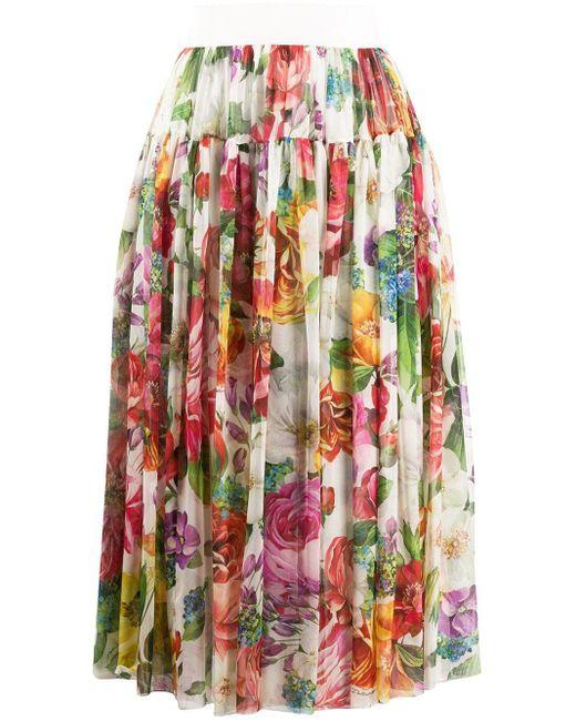 Юбка С Цветочным Принтом Dolce & Gabbana, цвет: White