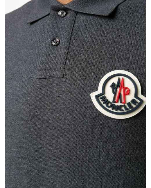 メンズ Moncler ロゴ ポロシャツ Gray