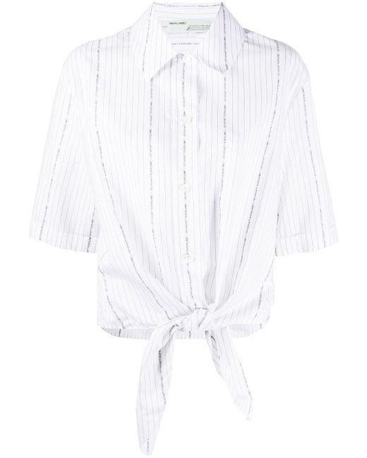 Off-White c/o Virgil Abloh White Popeline-Hemd mit Knotendetail
